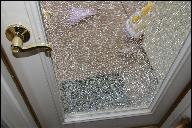 Broken Door Toughened Safty Glass