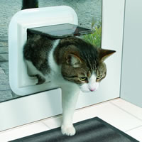 Glass door cat flap installation